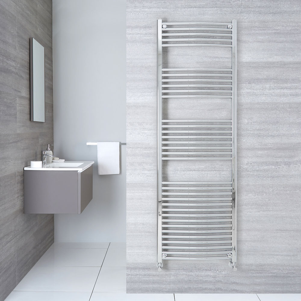 "Etna - Hydronic Chrome Curved Heated Towel Warmer - 70.75"" x 23.5"""