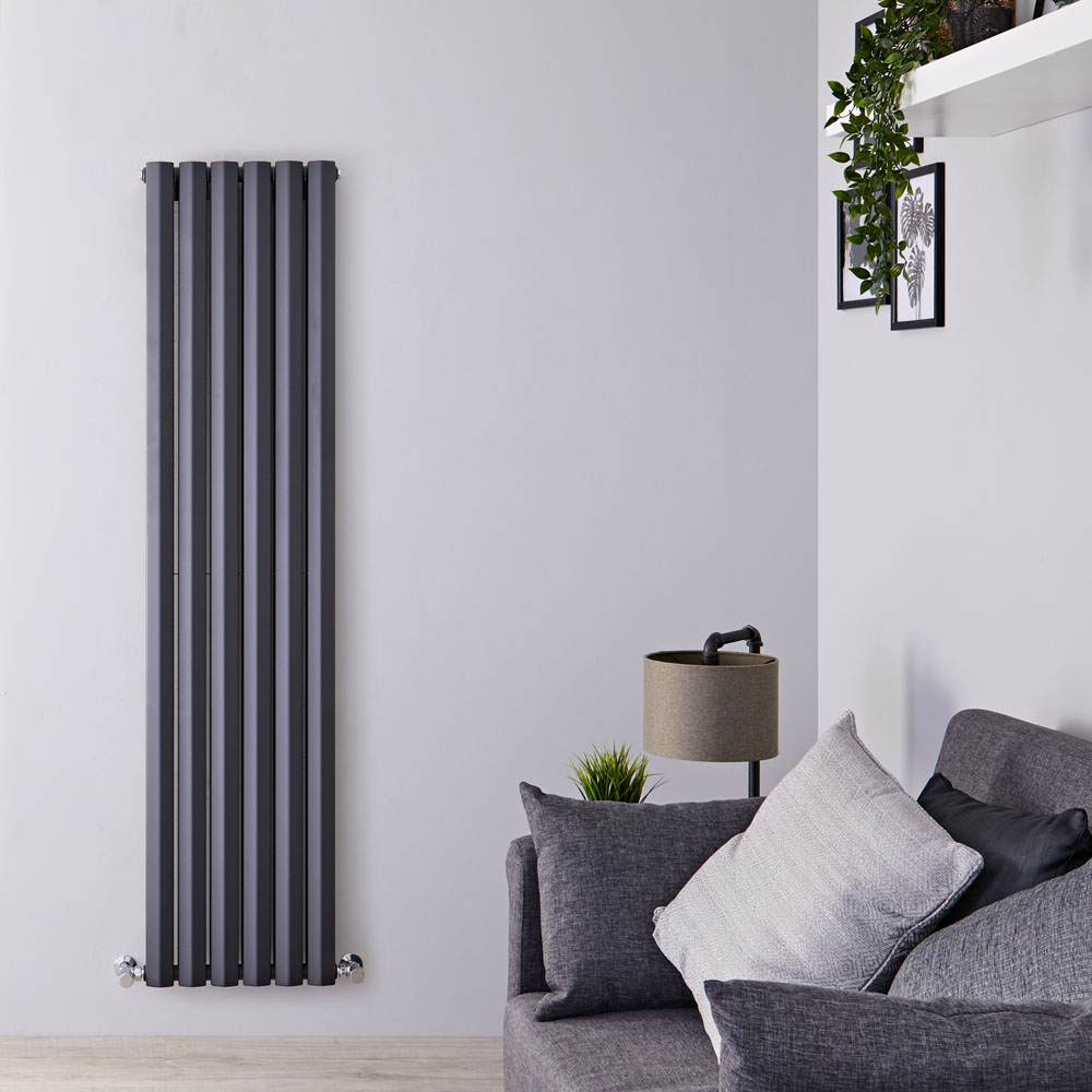 "Edifice - Anthracite Vertical Double-Panel Designer Radiator - 70"" x 16.5"""