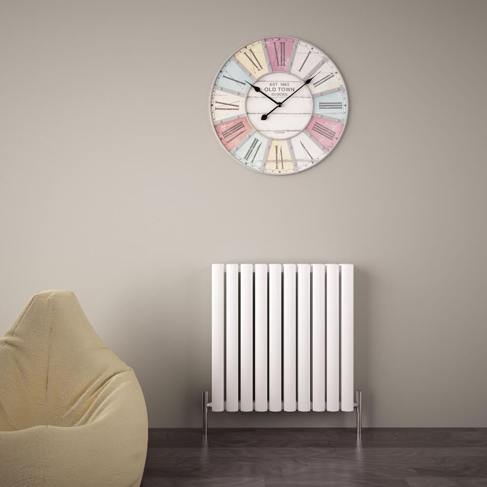 "Revive Air - White Aluminum Horizontal Double-Panel Designer Radiator - 23.5"" x 23.25"""