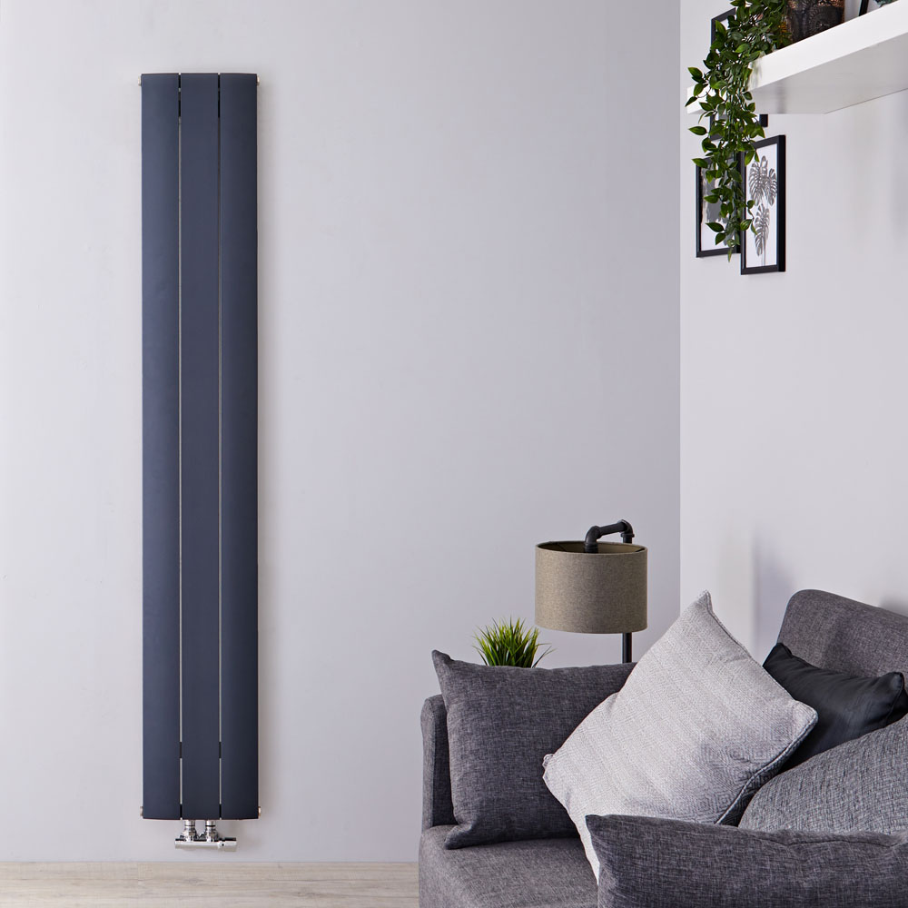 """Aurora - Anthracite Aluminum Vertical Designer Radiator - 63"""" x 11"""""""