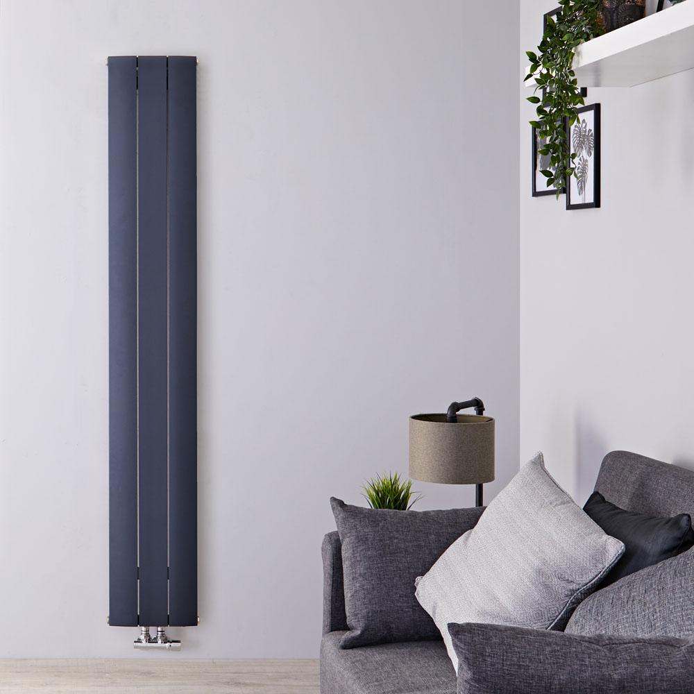 """Aurora - Anthracite Aluminum Vertical Designer Radiator - 70.75"""" x 11"""""""