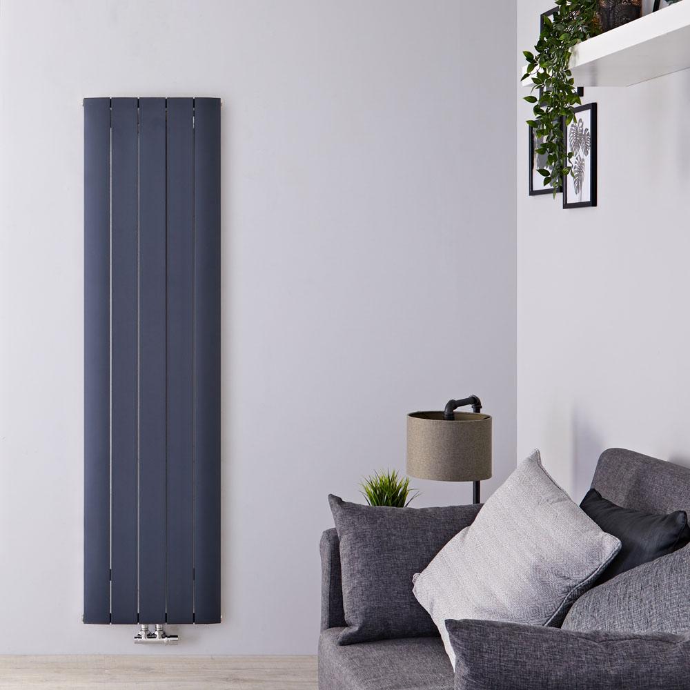 """Aurora - Anthracite Aluminum Vertical Designer Radiator - 70.75"""" x 18.5"""""""