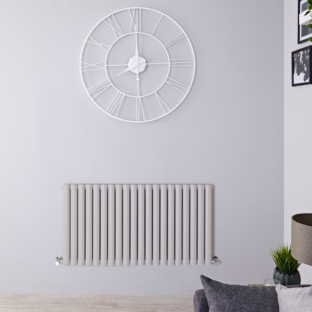 "Revive - Light Gray Horizontal Double-Panel Designer Radiator - 25"" x 46.5"""