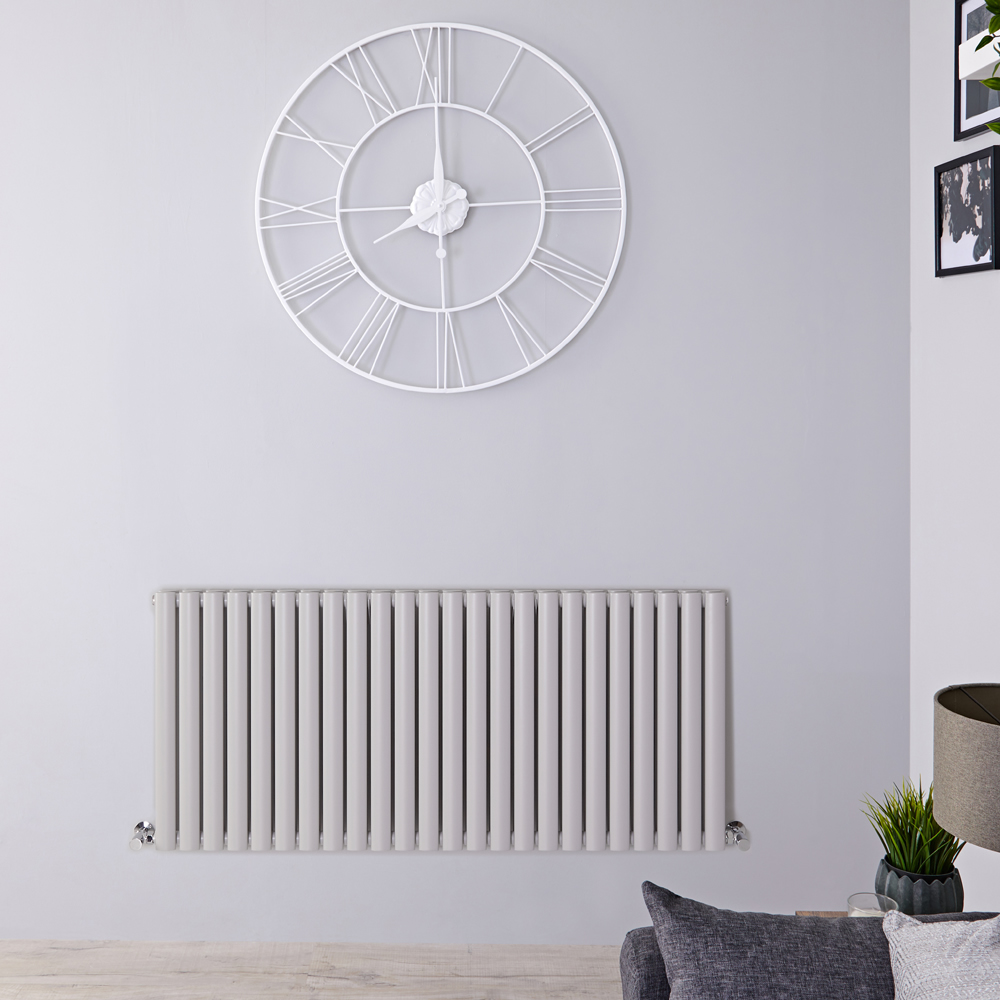"Revive - Light Gray Horizontal Double-Panel Designer Radiator - 25"" x 55.5"""