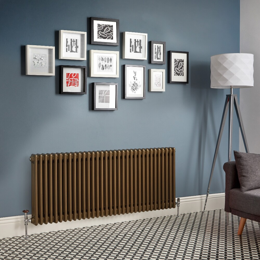 Regent - Metallic Bronze Horizontal 3-Column Traditional Cast-Iron Style Radiator - All Sizes