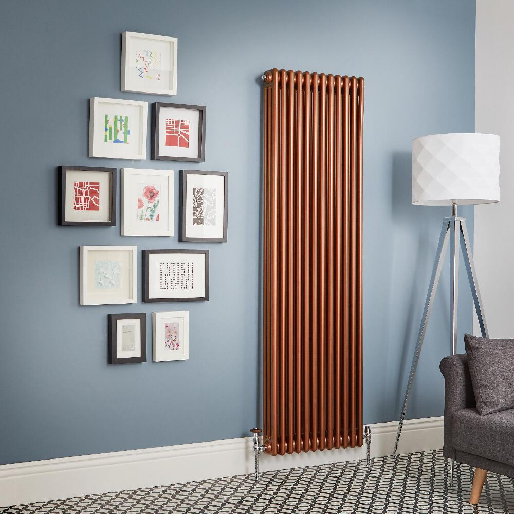 Regent - Metallic Copper Vertical 3-Column Traditional Cast-Iron Style Radiator - All Sizes