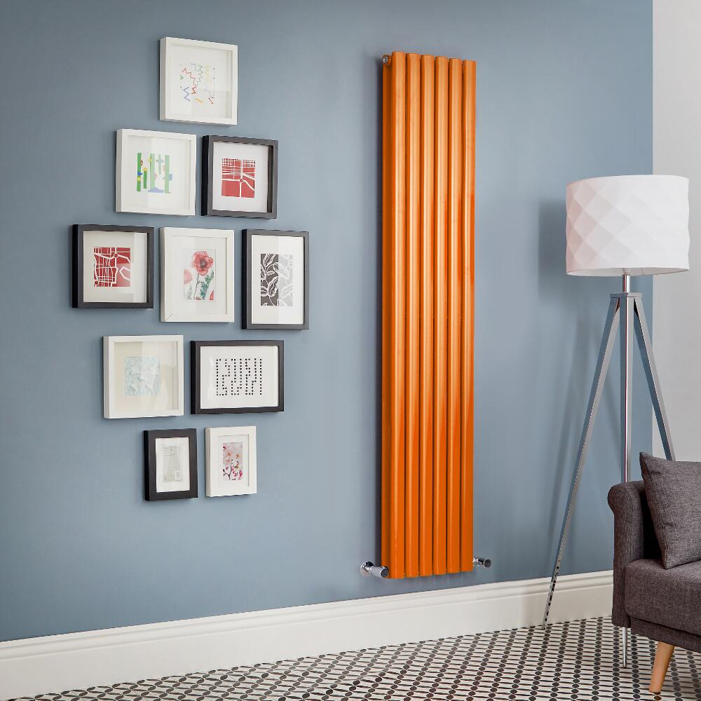 Revive - Orange Vertical Double-Panel Designer Radiator - All Sizes