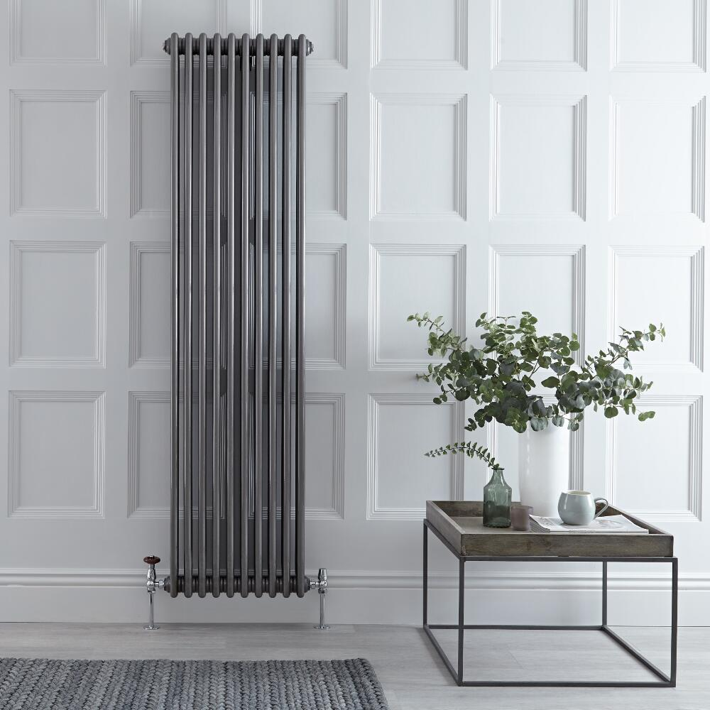 Regent - Raw Metal Lacquered Vertical 3-Column Traditional Cast-Iron Style Radiator - 70.75'' x 18.5''