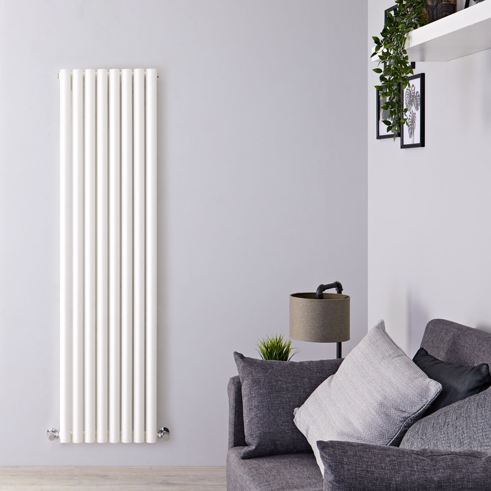 "Savy - White Vertical Single-Panel Designer Radiator - 63"" x 18.5"""