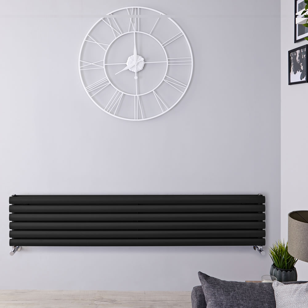 "Revive - Black Horizontal Double-Panel Designer Radiator - 14"" x 63"""