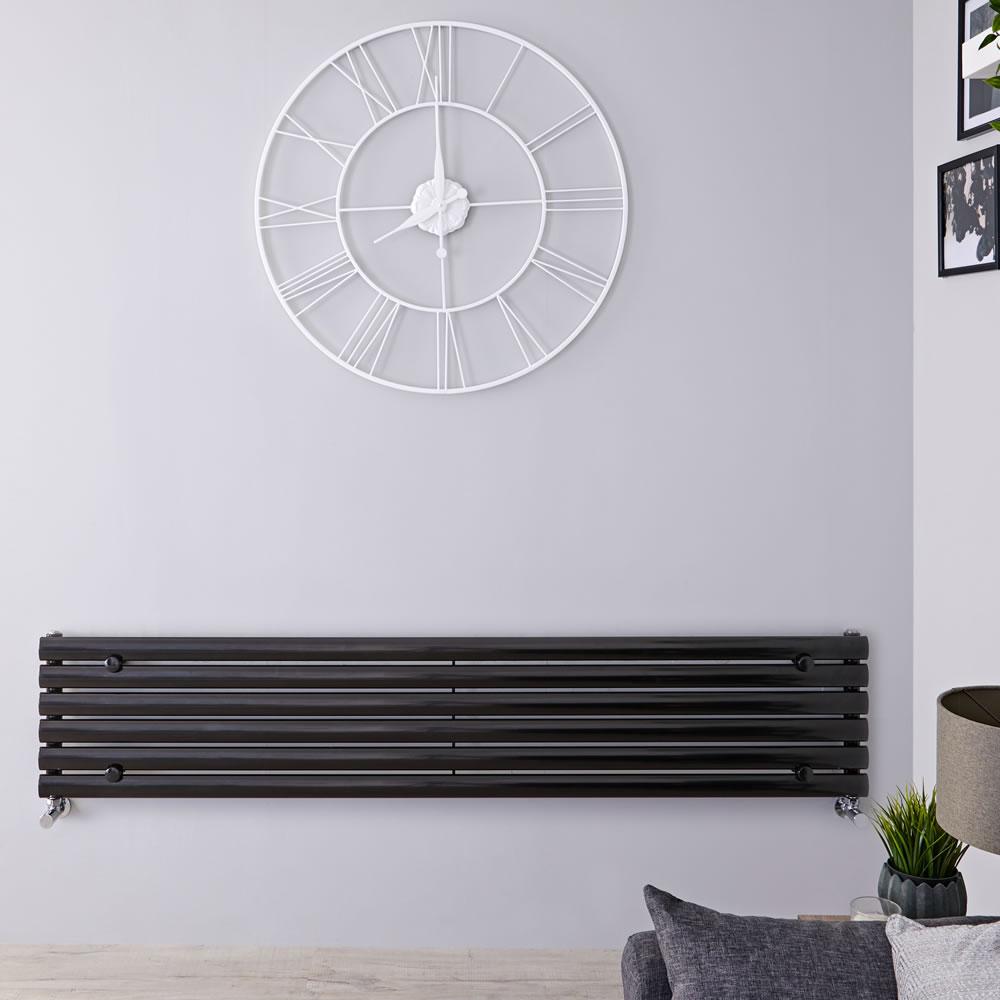 "Revive - Black Horizontal Single-Panel Designer Radiator - 14"" x 70"""