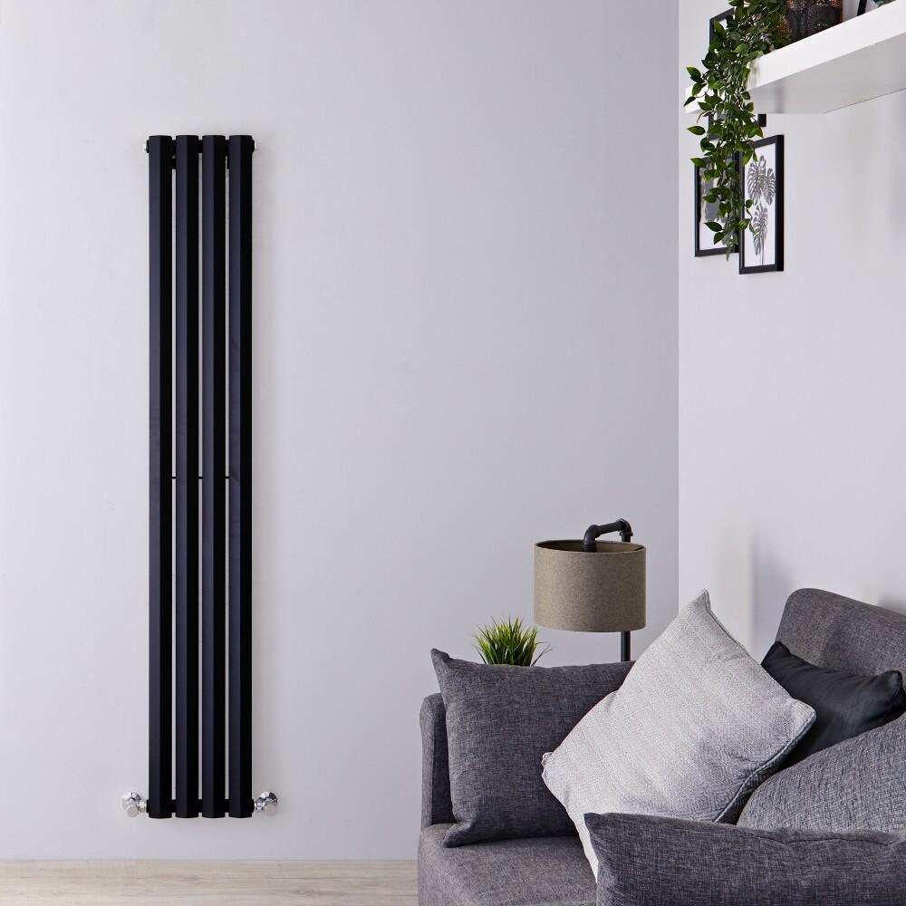 "Edifice - Black Vertical Single-Panel Designer Radiator - 63"" x 11"""