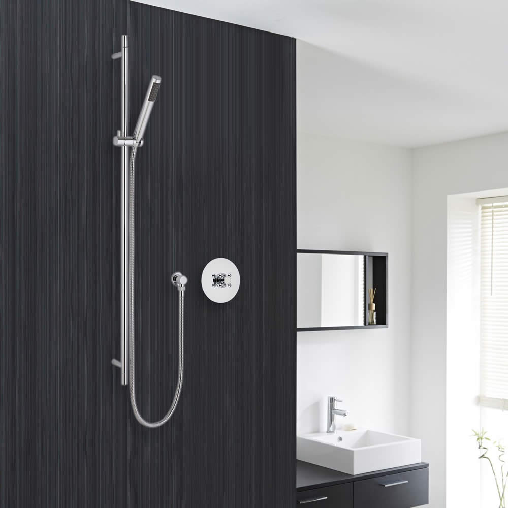 Valquest Shower System with Minimalist Round Handset and Slide Rail Kit