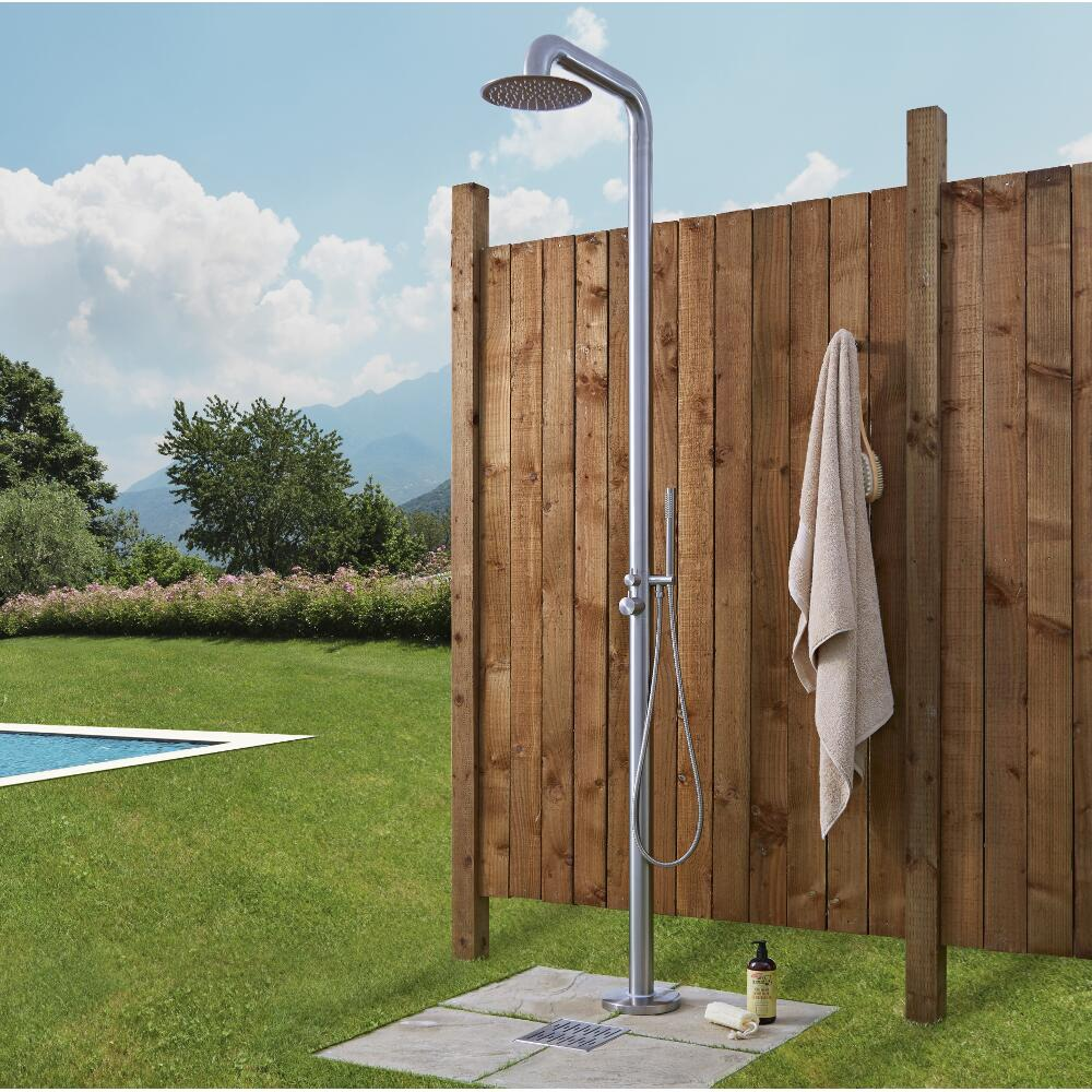 Seville - Freestanding Outdoor Shower with Handshower - Brushed Steel