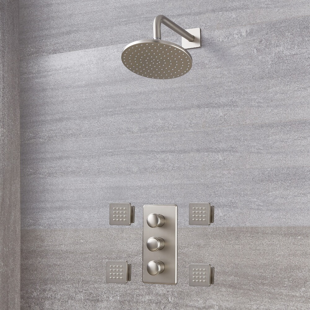 Eclipse Thermostatic Brushed Nickel Shower System With 8
