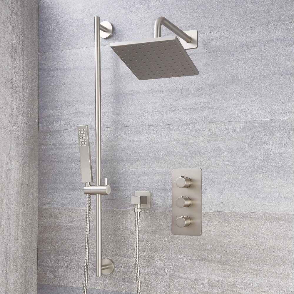 """Arcadia Thermostatic Brushed Nickel Shower System with 8"""" Shower Head and Slide Rail Kit"""