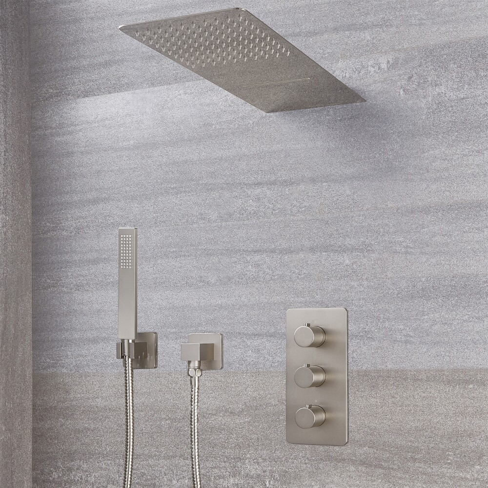 Arcadia Thermostatic Brushed Nickel Shower System with Waterfall Head and Handshower
