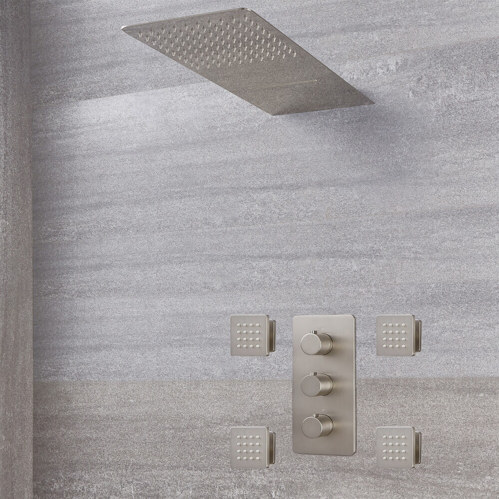Arcadia Thermostatic Brushed Nickel Shower System with Waterfall Head and Jets