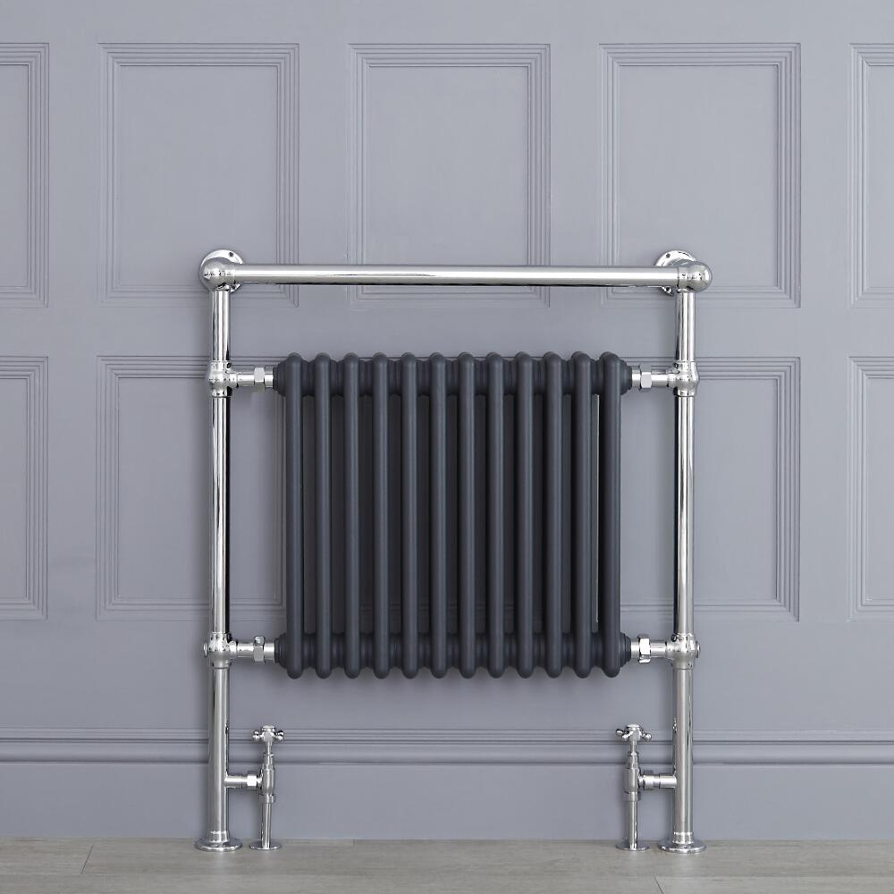 "Marquis - Anthracite Traditional Heated Towel Warmer with Shelf - 36.75"" x 31.25"""
