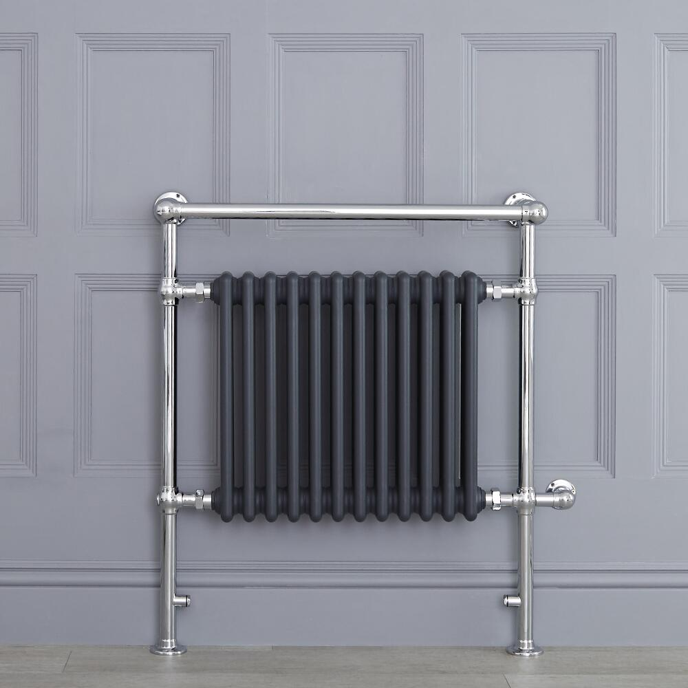 "Marquis Electric  - Anthracite Traditional Heated Towel Warmer with Shelf - 36.75"" x 31.25"""