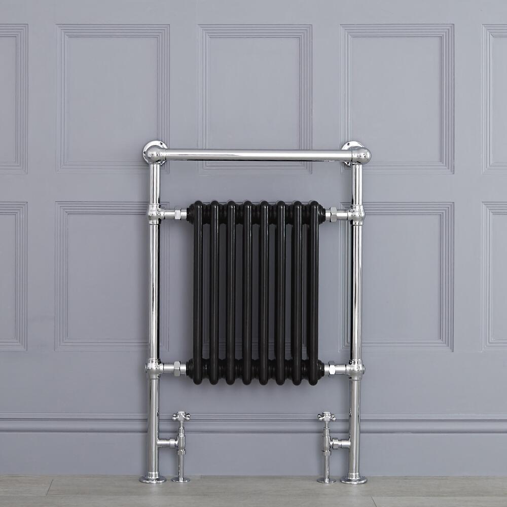 "Marquis - Black Traditional Heated Towel Warmer with Shelf - 36.75"" x 24.5"""