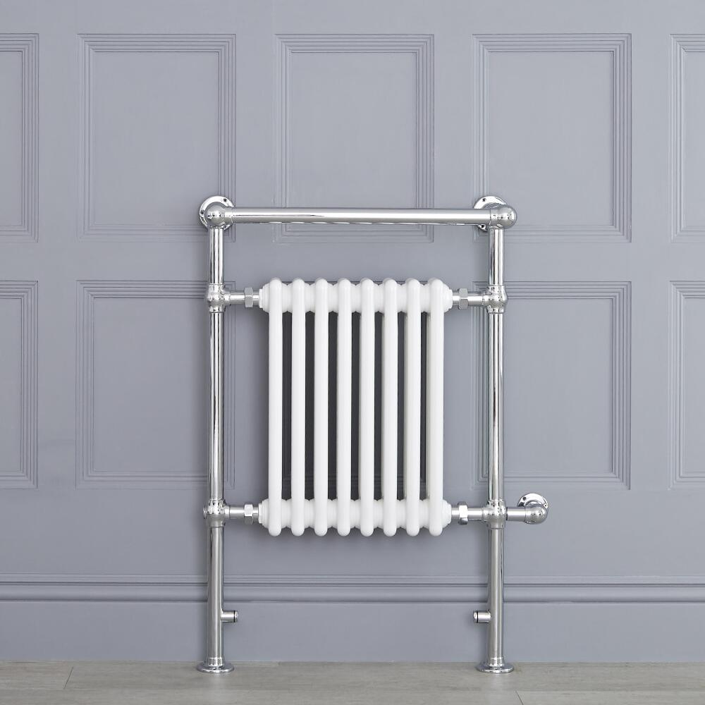 "Marquis Electric  - White Traditional Heated Towel Warmer with Shelf - 36.75"" x 24.5"""