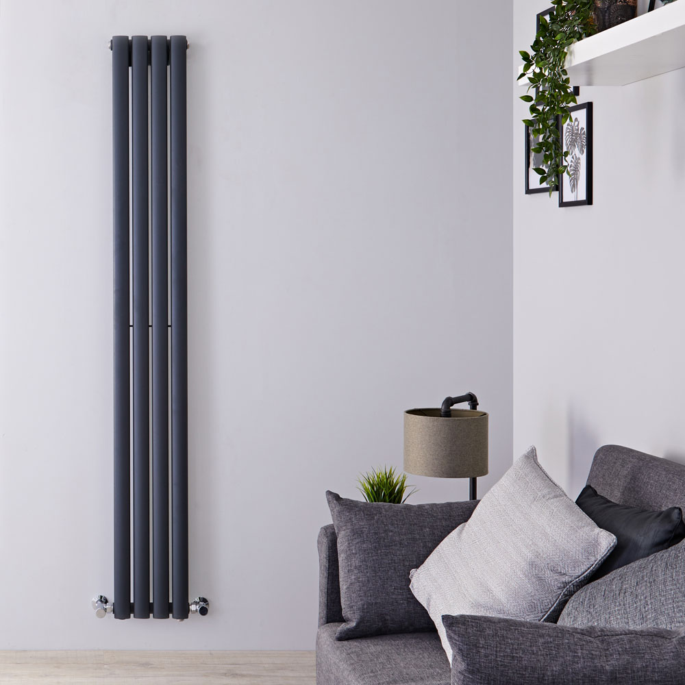 "Revive - Anthracite Vertical Single-Panel Designer Radiator - 70"" x 9.25"""