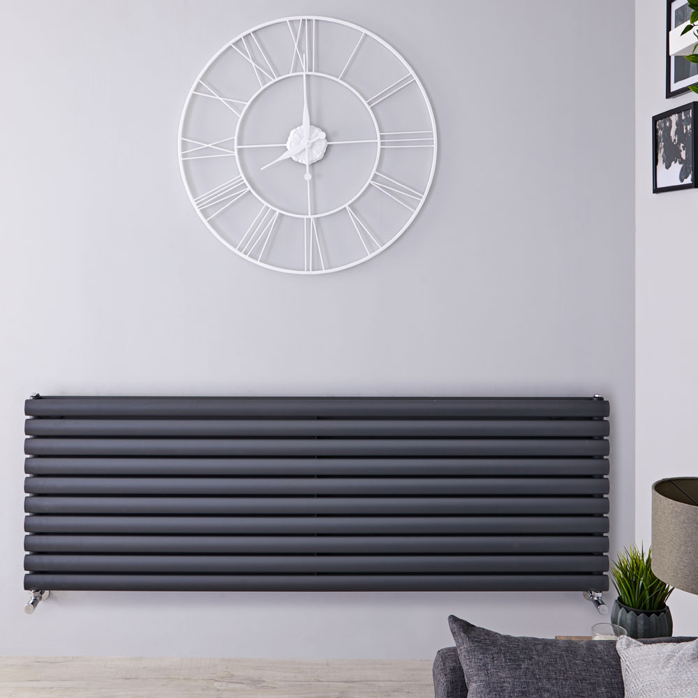 "Revive - Anthracite Horizontal Double-Panel Designer Radiator - 23.25"" x 70"""