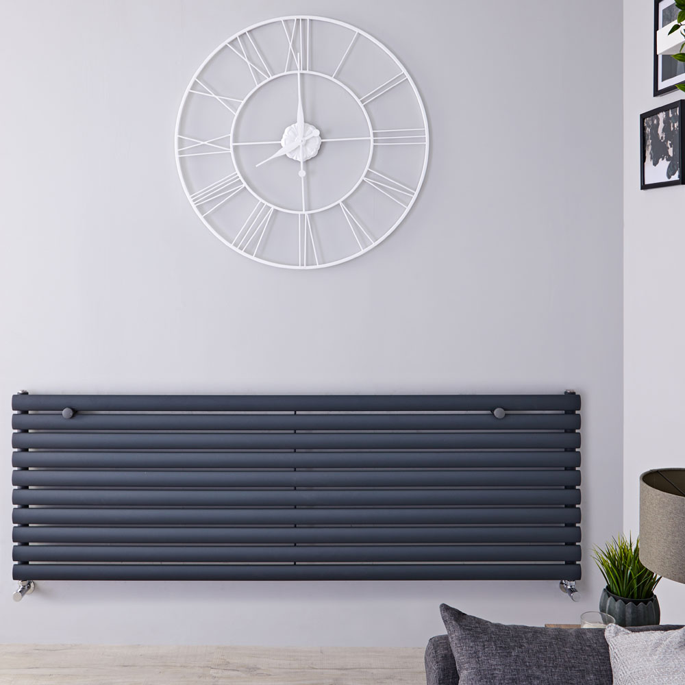 "Revive - Anthracite Horizontal Single-Panel Designer Radiator - 23.25"" x 70"""