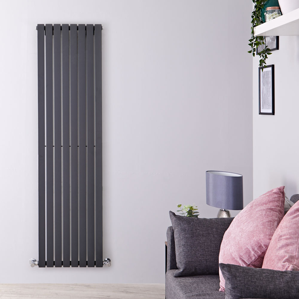 "Sloane - Anthracite Vertical Single Flat-Panel Designer Radiator - 70"" x 18.5"""