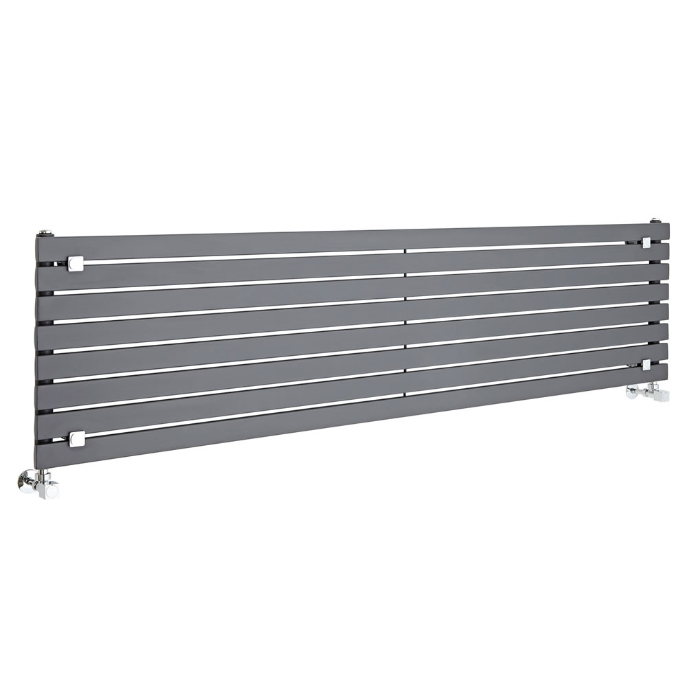 "Sloane - Anthracite Horizontal Single Flat-Panel Designer Radiator - 18.5"" x 70"""