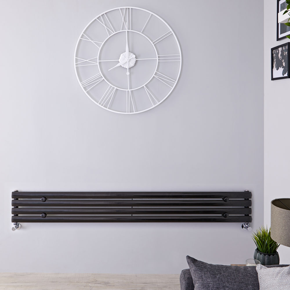 "Revive - Black Horizontal Single-Panel Designer Radiator - 9.25"" x 70"""