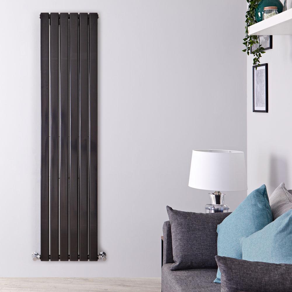 "Delta - Black Vertical Double Slim-Panel Designer Radiator - 70"" x 16.5"""