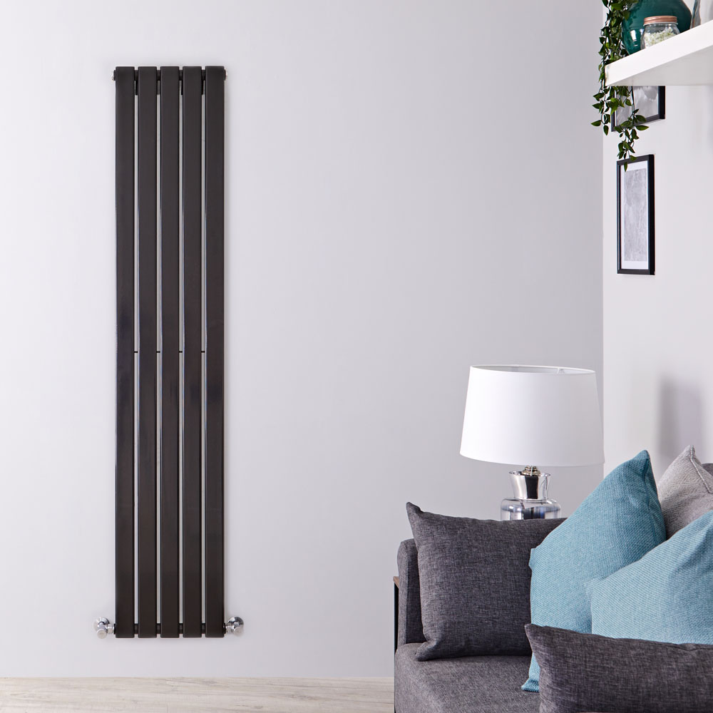 "Delta - Black Vertical Single Slim-Panel Designer Radiator - 70"" x 13.75"""