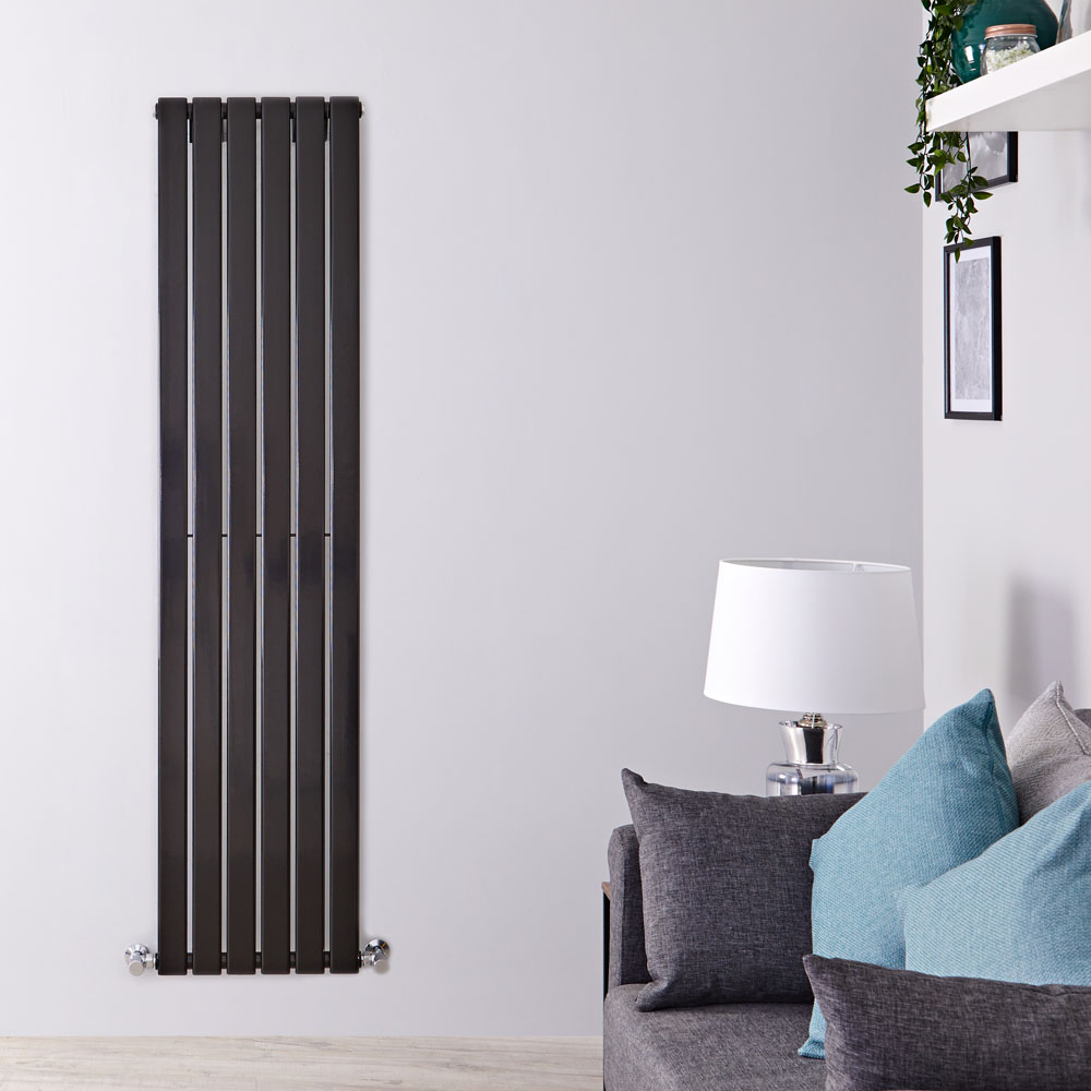 "Delta - Black Vertical Single Slim-Panel Designer Radiator - 70"" x 16.5"""