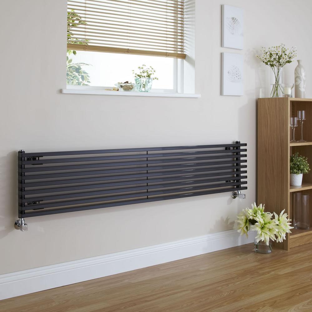 "Fin - Black Horizontal Single-Panel Designer Radiator - 13.5"" x 70"""