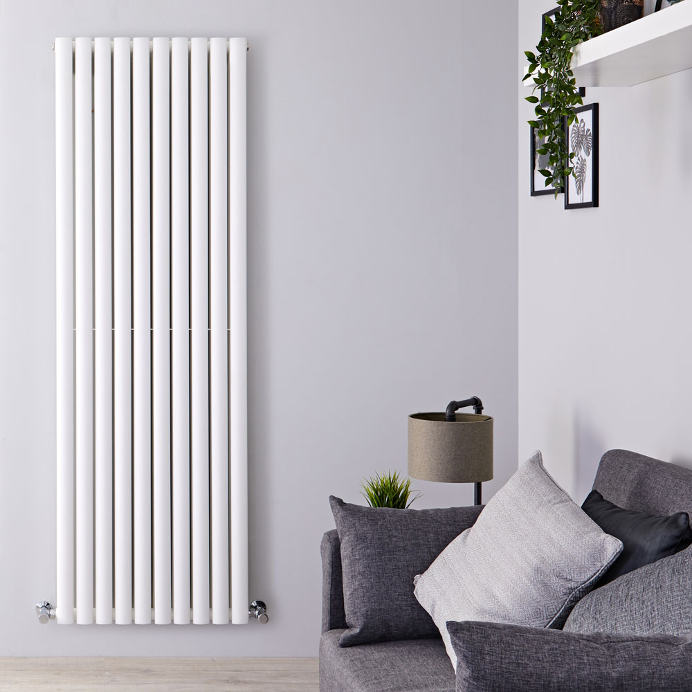 "Revive - White Vertical Double-Panel Designer Radiator - 70"" x 23.25"""