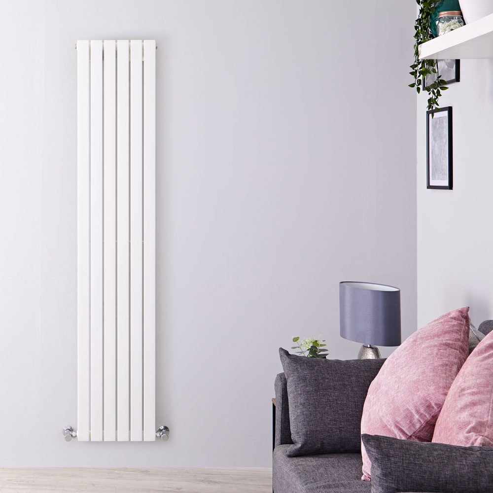 "Sloane - White Vertical Single Flat-Panel Designer Radiator - 70"" x 14"""