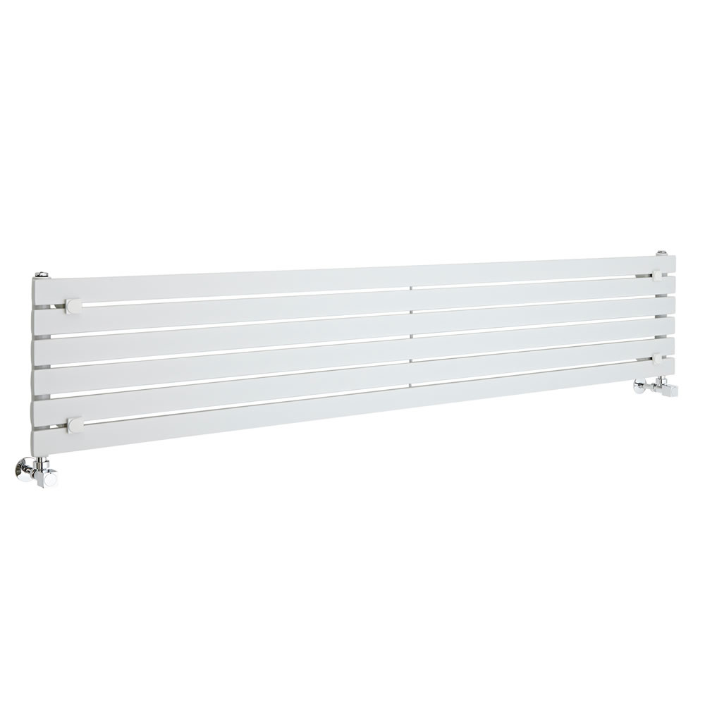 "Sloane - White Horizontal Single Flat-Panel Designer Radiator - 14"" x 70"""