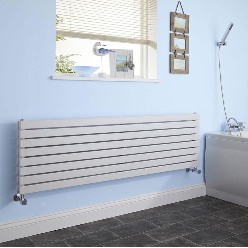 "Sloane - White Horizontal Double Flat-Panel Designer Radiator - 18.5"" x 70"""