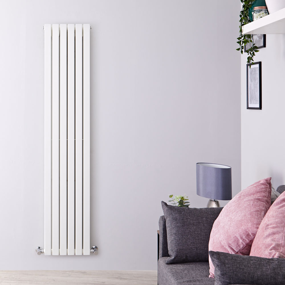 "Sloane - White Vertical Double Flat-Panel Designer Radiator - 70"" x 14"""