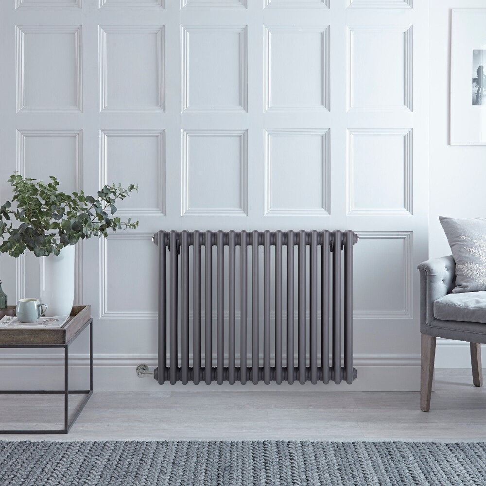 "Regent Electric - Anthracite Horizontal 3-Column Traditional Cast-Iron Style Radiator - 23.5"" x 30"""