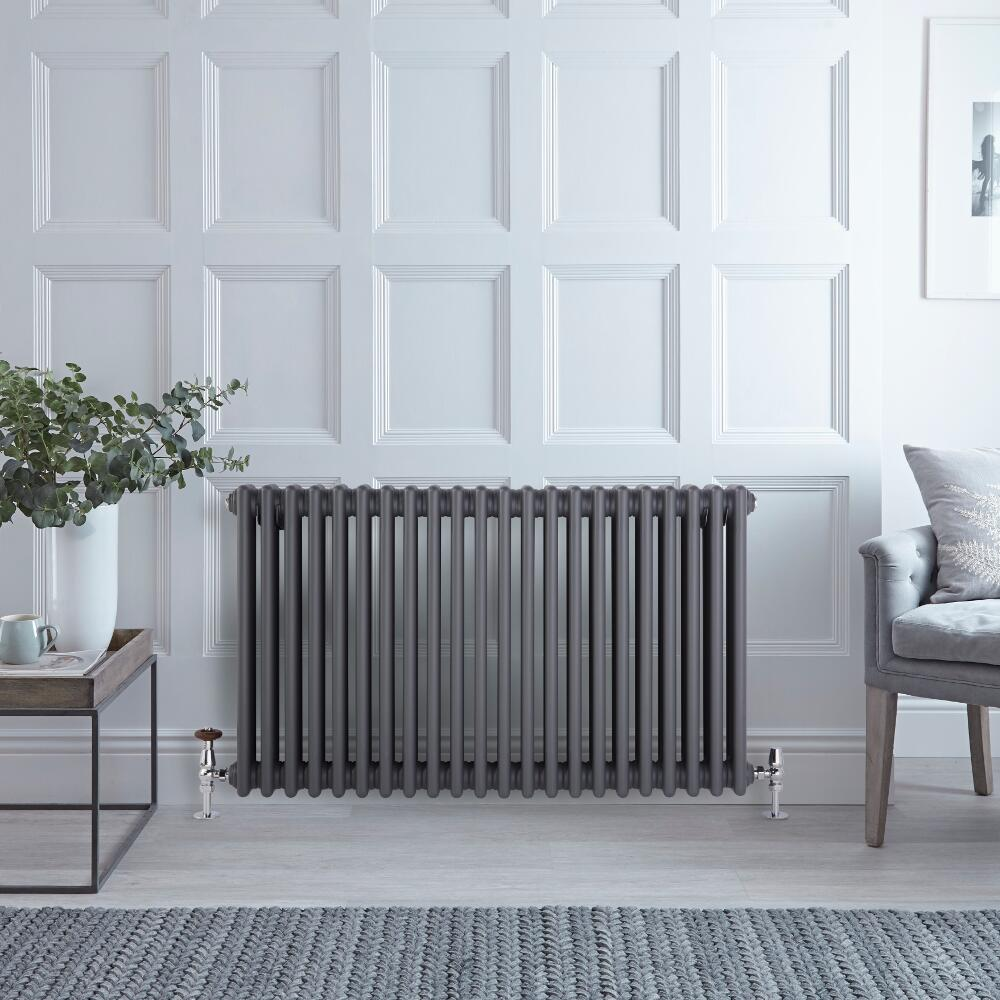 "Regent - Anthracite Horizontal 3-Column Traditional Cast-Iron Style Radiator - 23.5"" x 39"""