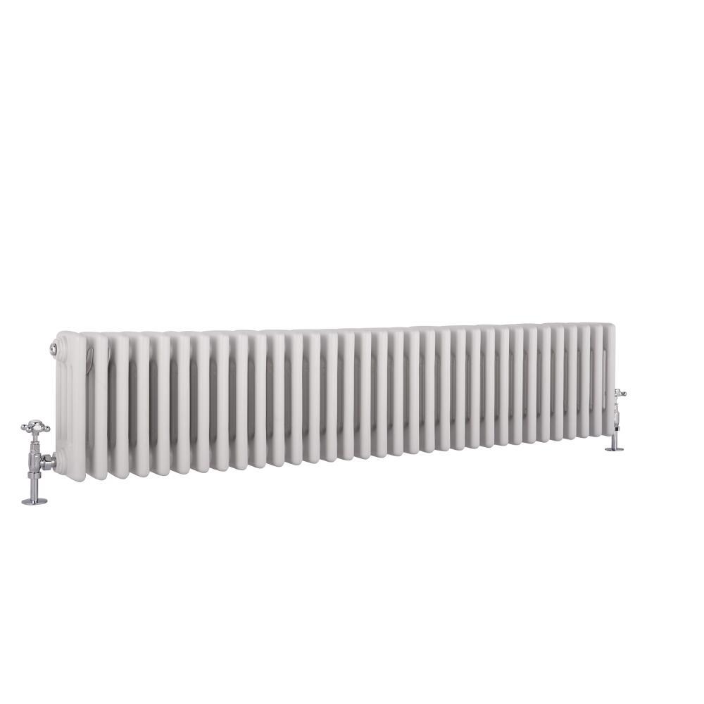 "Regent - White Horizontal 4-Column Traditional Cast-Iron Style Radiator - 11.75"" x 58.5"""