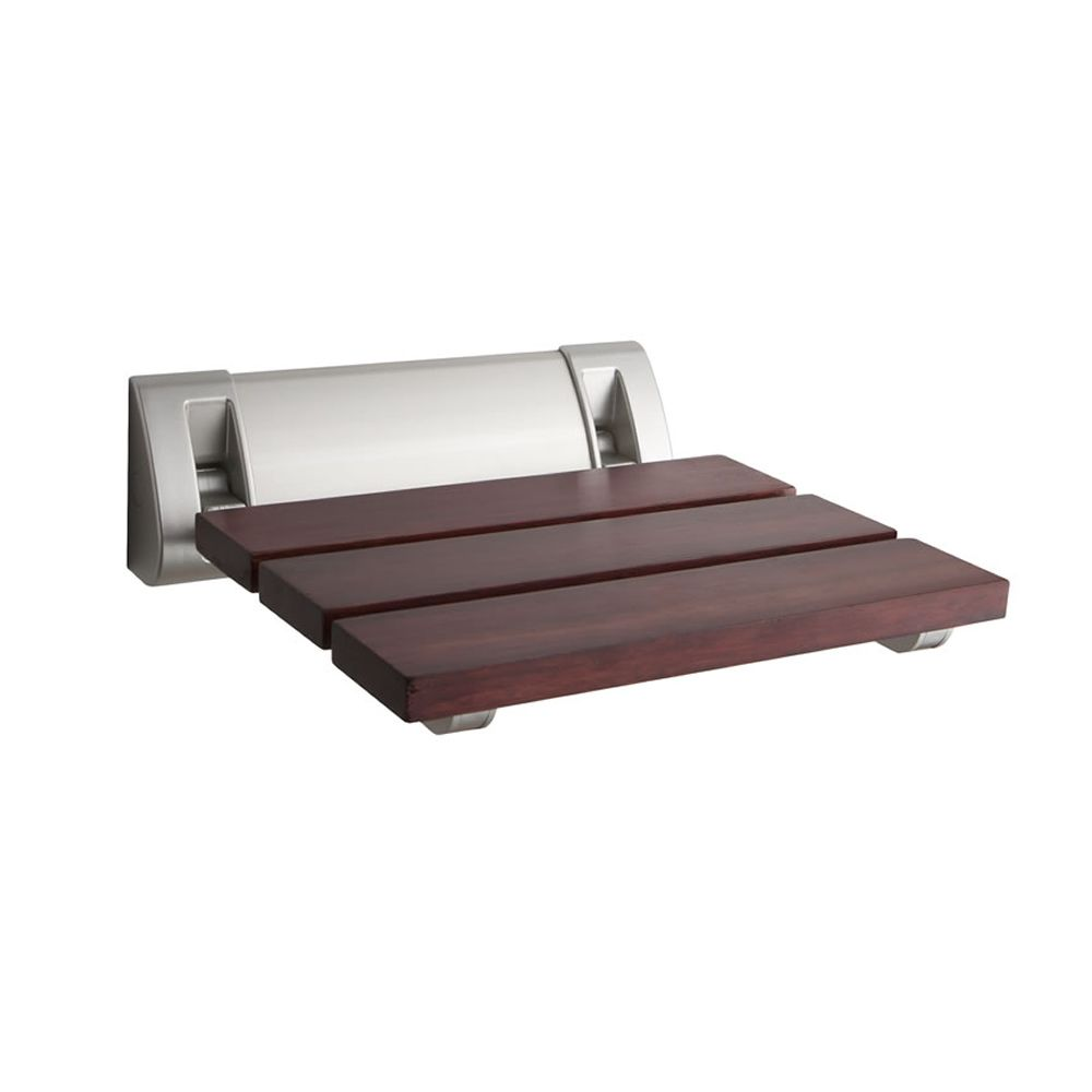 Sapele Wood Folding Shower Seat with Wide Bracket