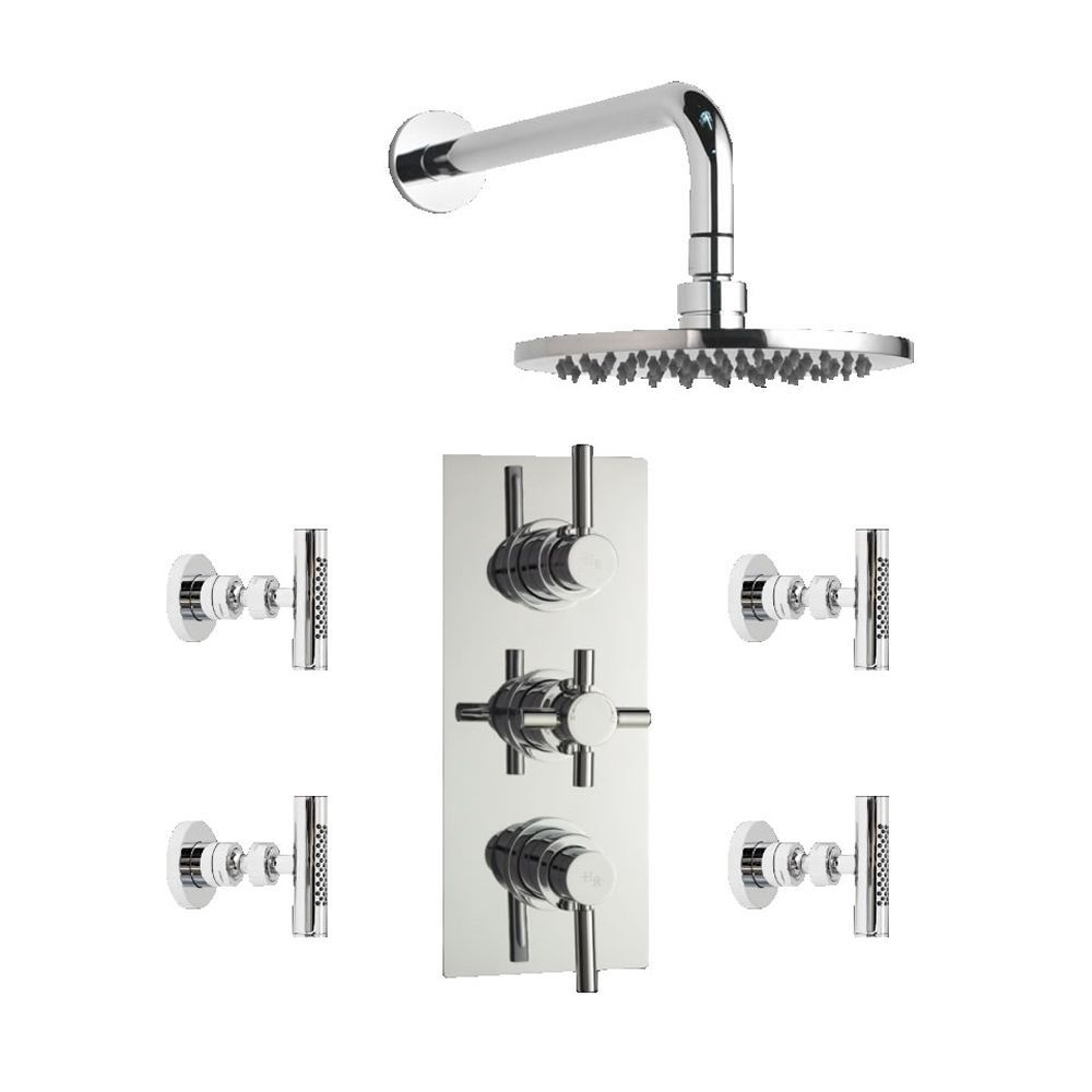 Tec Concealed thermostatic shower valve with Round Shower head and 4 body sprays