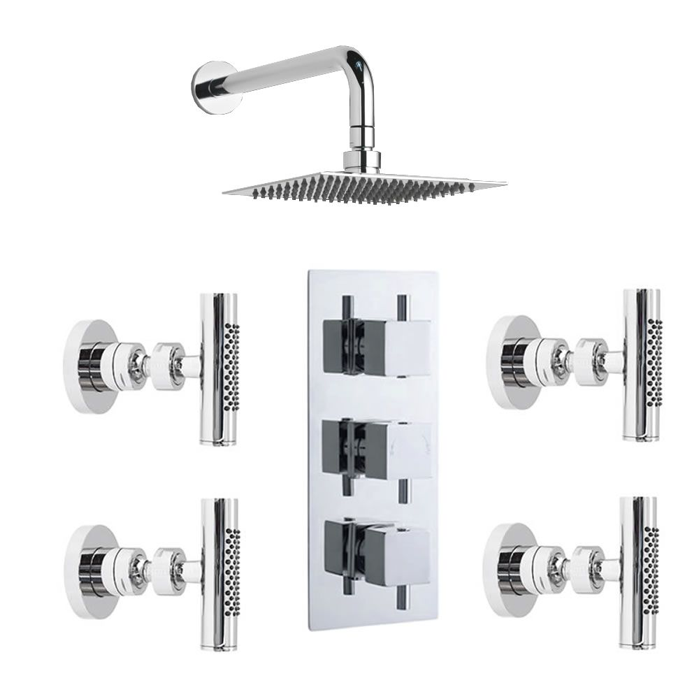 Concealed Chrome Astbury Thermostatic Two-Way (Triple) Shower Valve with Fixed Head and 4 Bodyjets