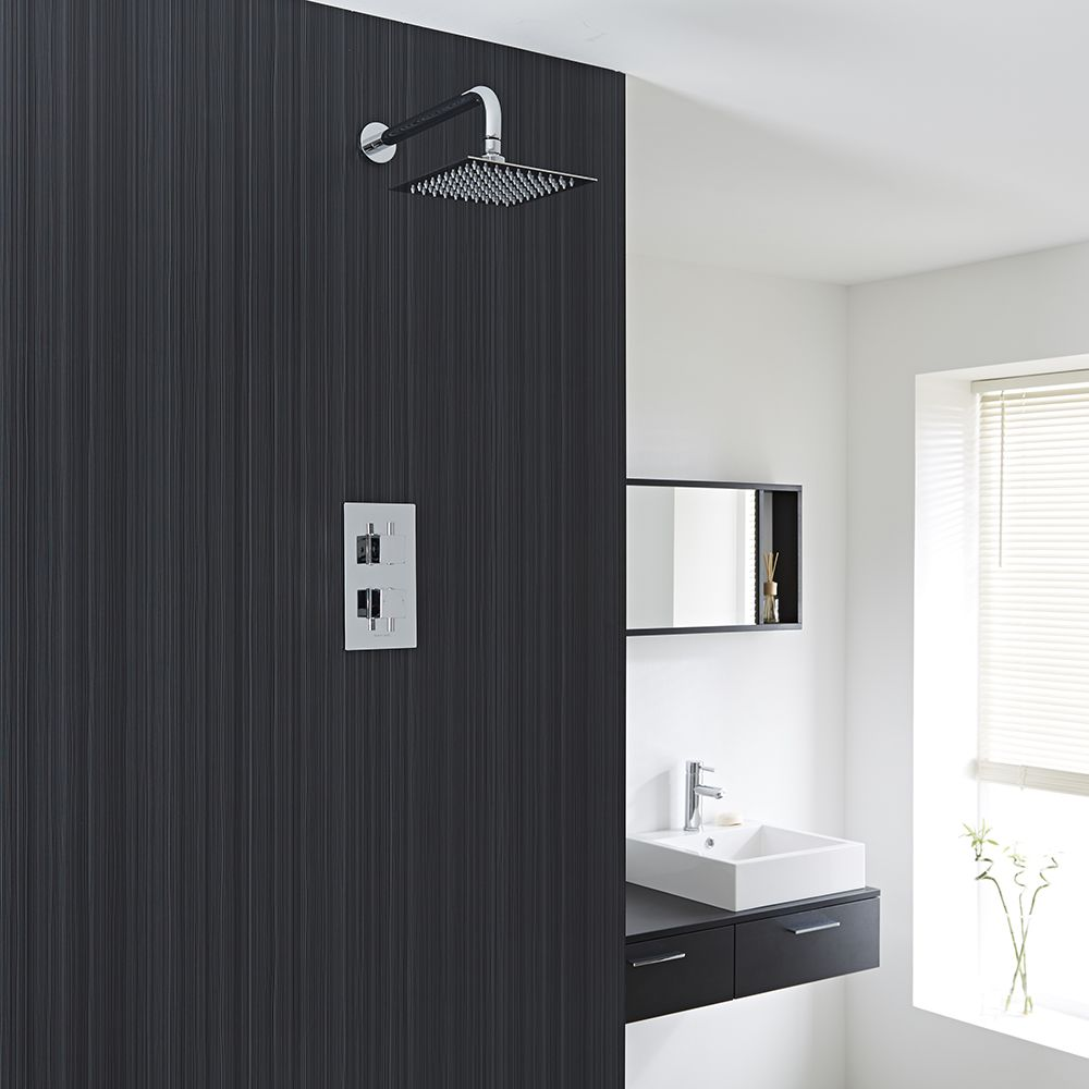 Twin concealed thermostatic shower faucet fixed head