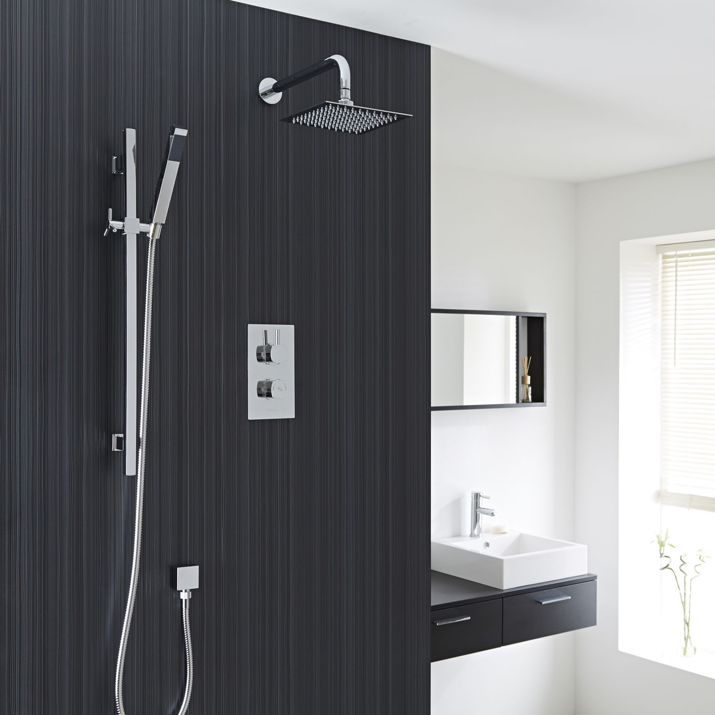 """Kia/Jule Twin Concealed Thermostatic Shower With Diverter, 8"""" Square Head and Slider Rail Kit"""