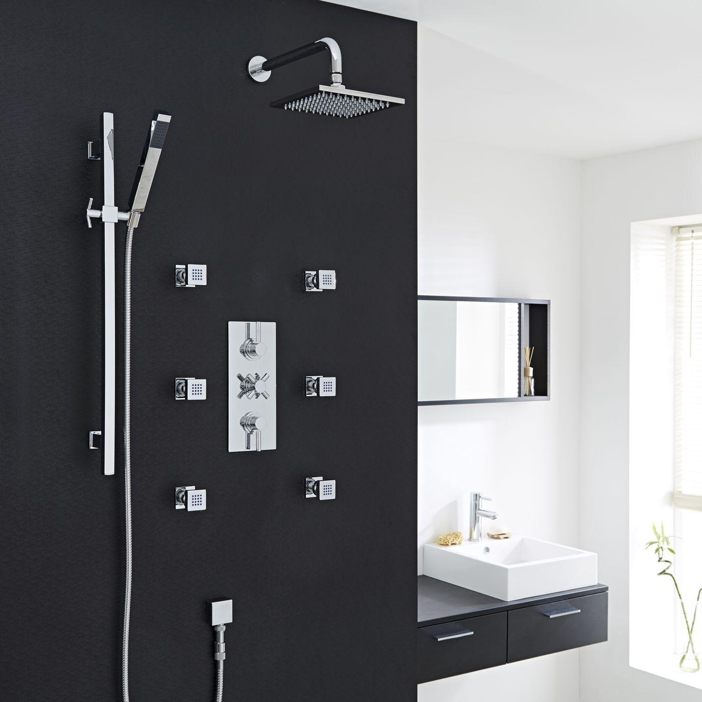 Thermostatic Shower System with Slide Rail Kit & 6 Square Jet Sprays